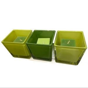 Trio of Green Glass Holders and Square Candles